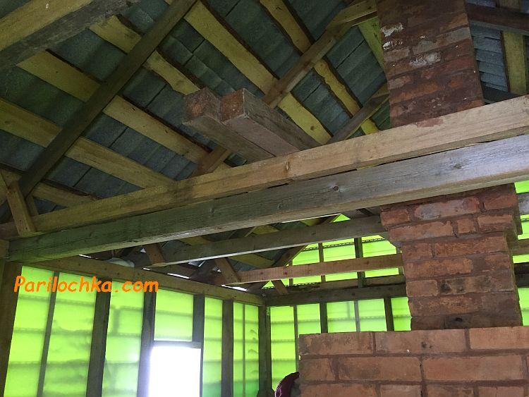 балки потолка на срубе