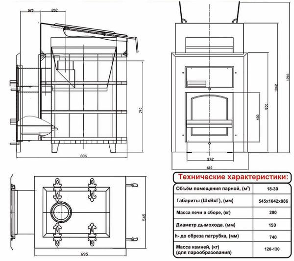Печь Чародейка Русский пар для бани (сауны): обзор, фото, характеристики, подробности