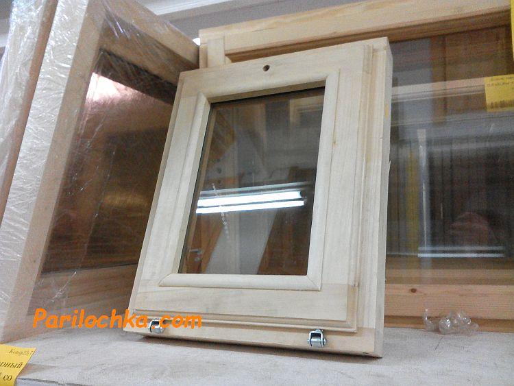 Окна из липы для бани со стеклопакетом